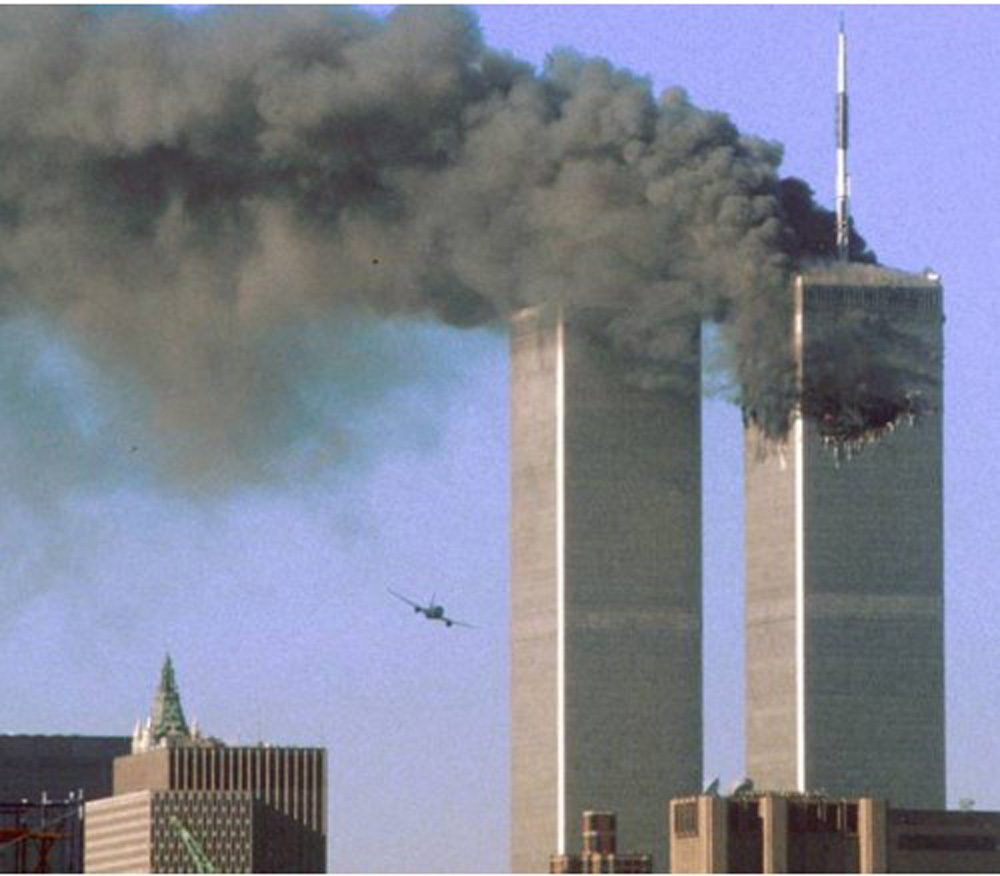 A picture of the terrorist attack in NY, 2001