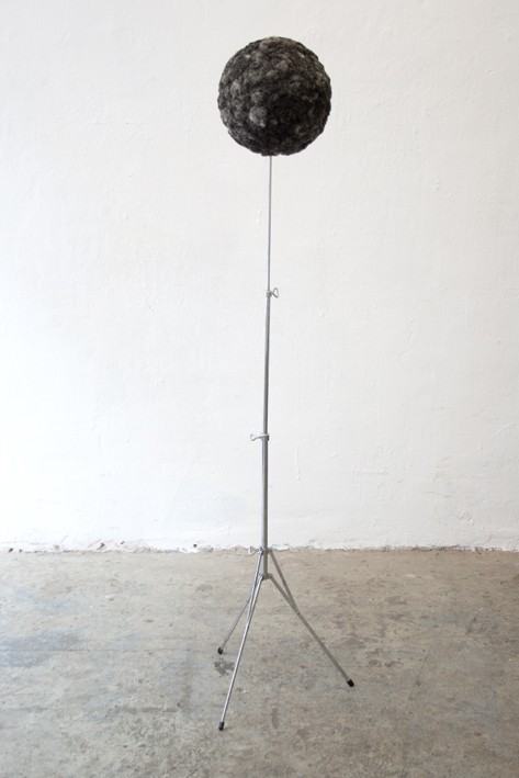 Julia Phillips - Untitled – (Hairball), 2013, 40 x 40 x 130 cm chromed metal stand, my mother's hair