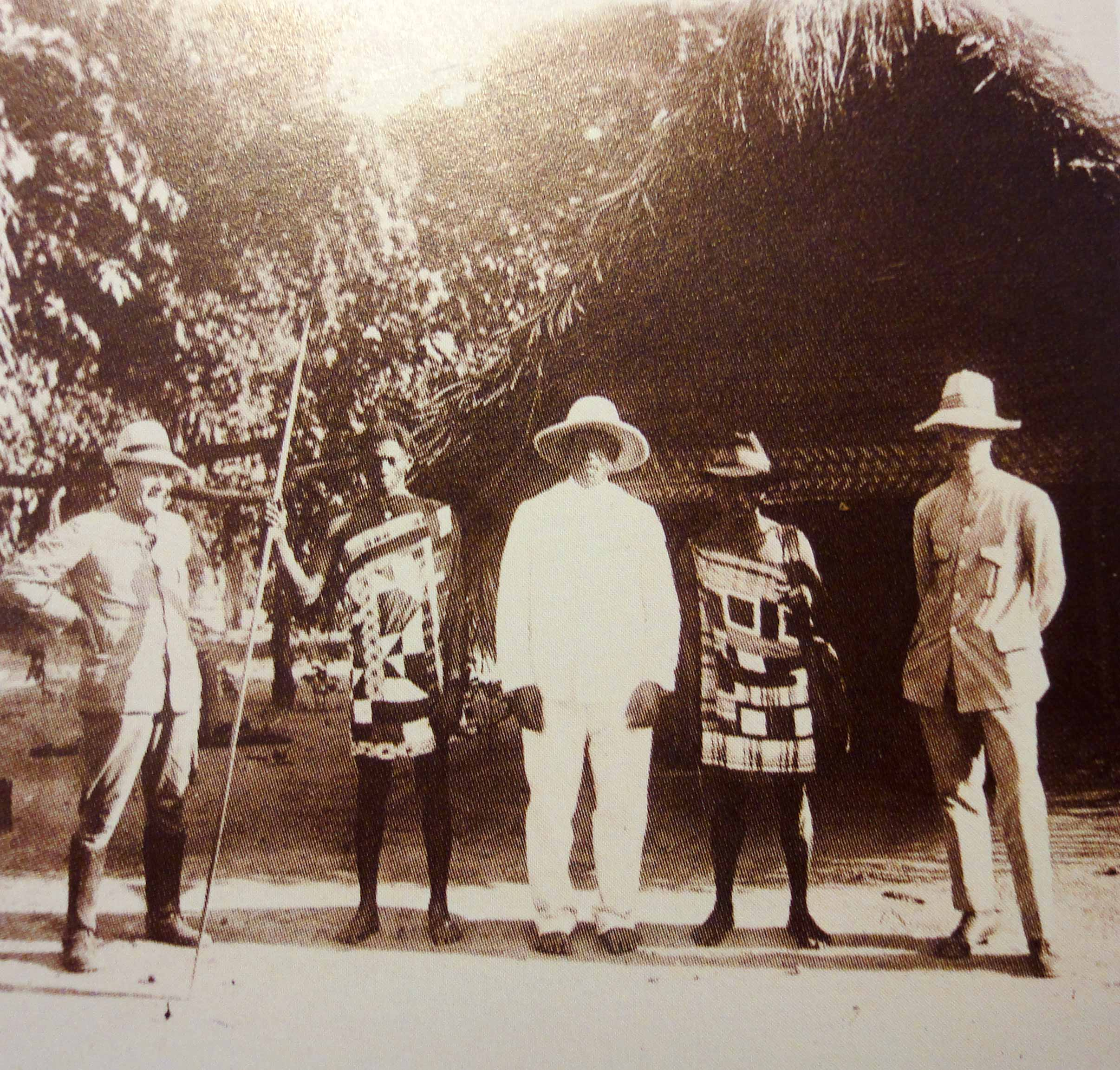 Explorers and their guide in the Suriname Interior, early twentieth century