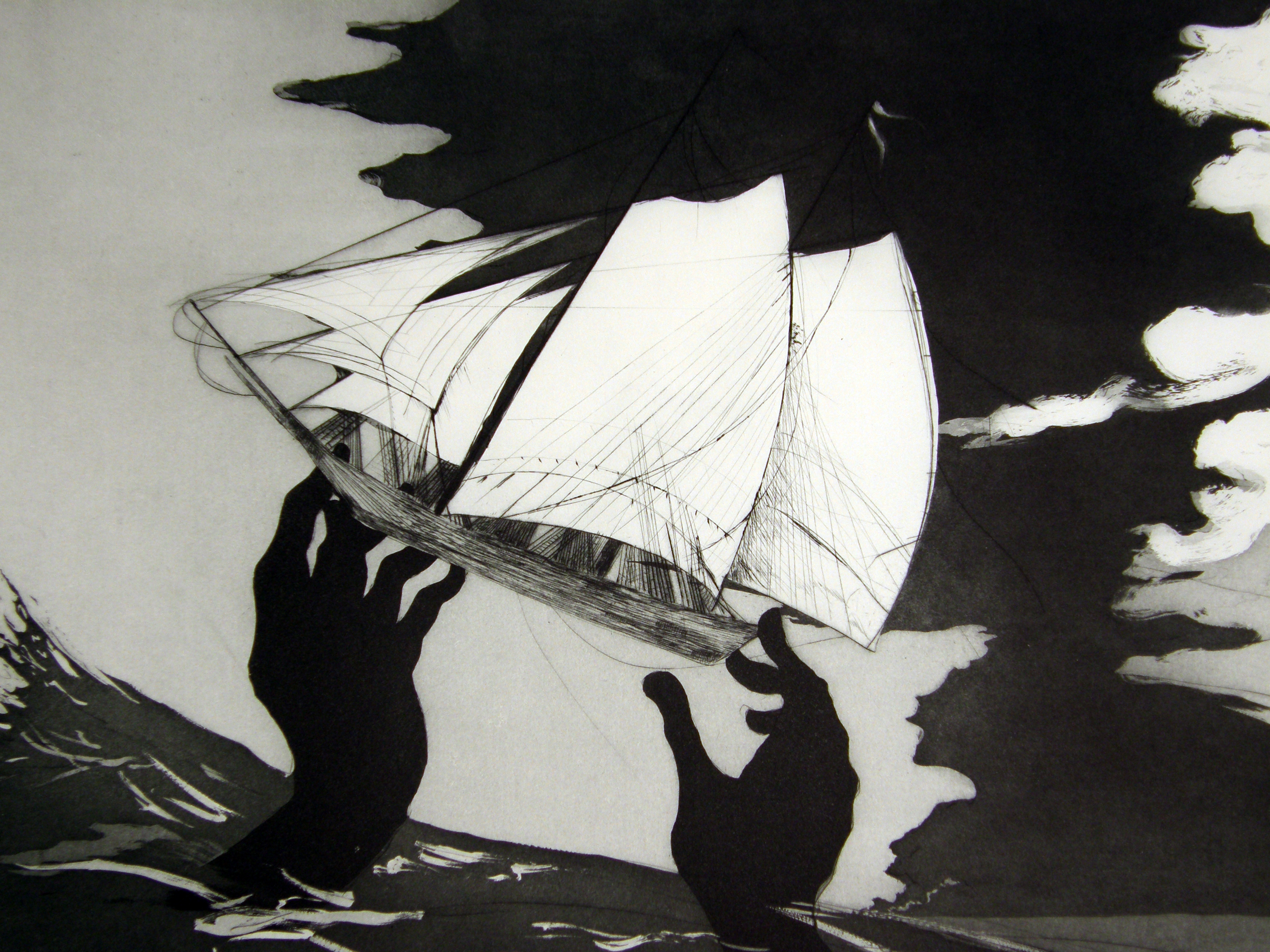 Kara Walker, detail van 'No world', ets, 2010
