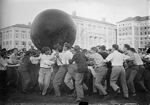 Game of push ball by Columbia students, year unknown.