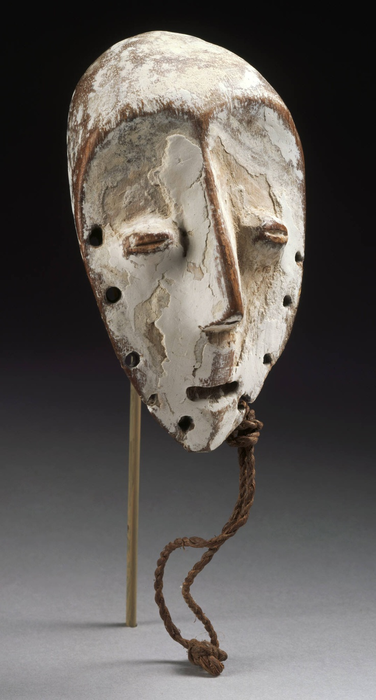 Lega artist Maskette (lukwakongo), late 19th–early 20th century Wood, kaolin, and fiber