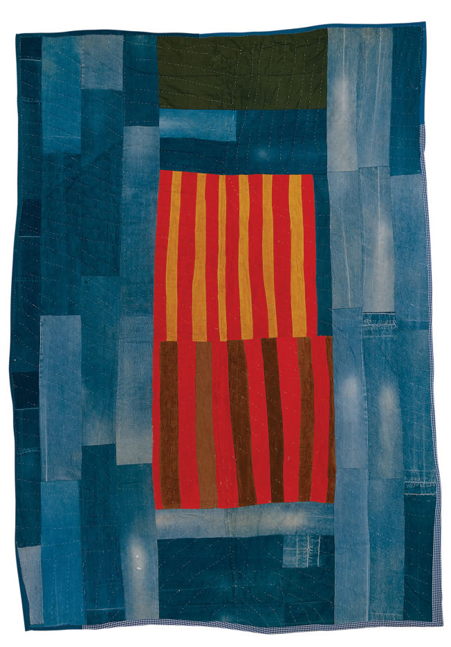 Annie Mae Young, Work-clothes quilt with center medallion of strips, 1976