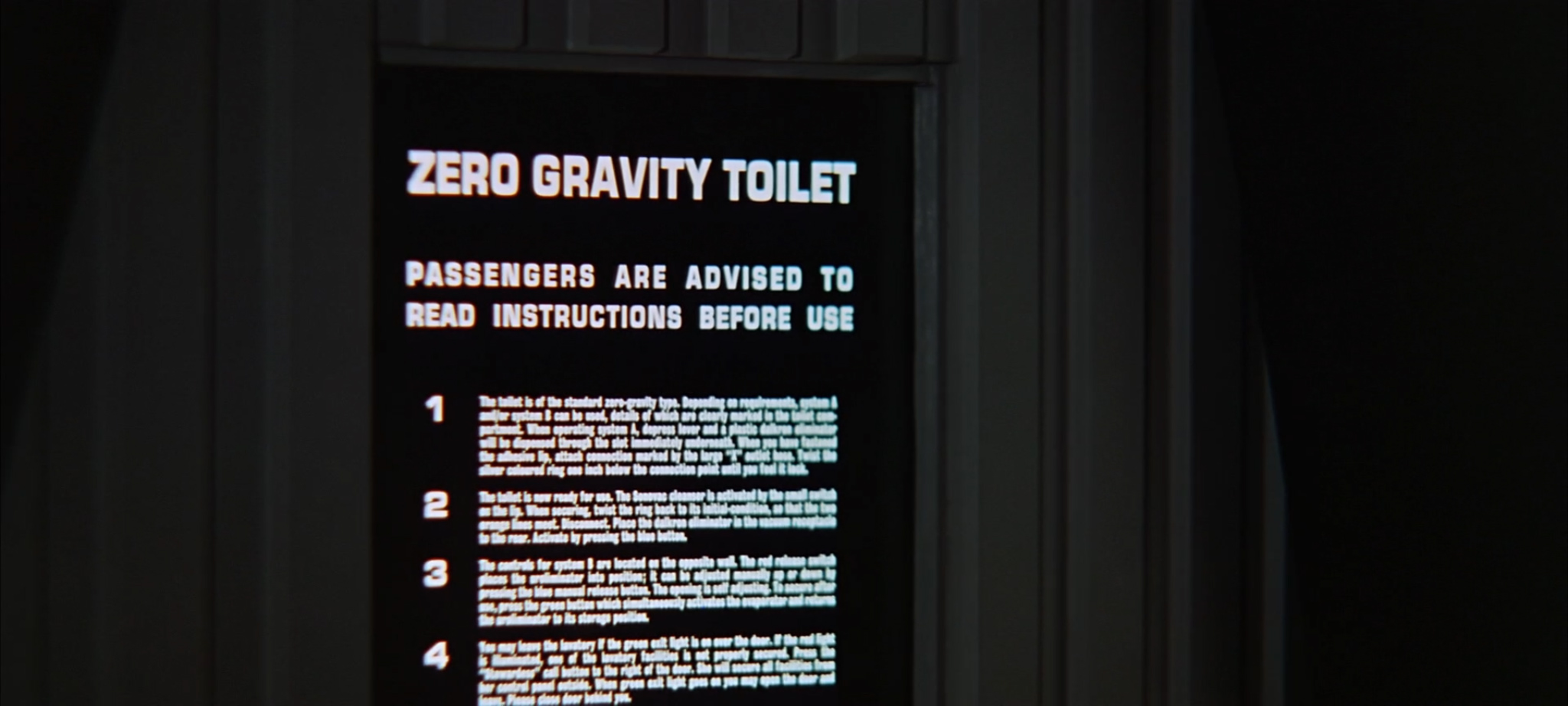 "Z Zero gravity toilet: the typography in ""2001, A Space Odyssey"""