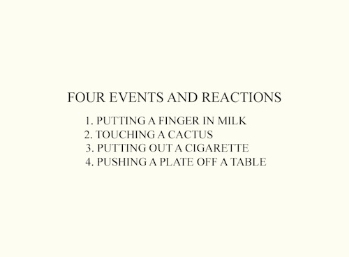 Four events and reactions by John Baldessari, 1975