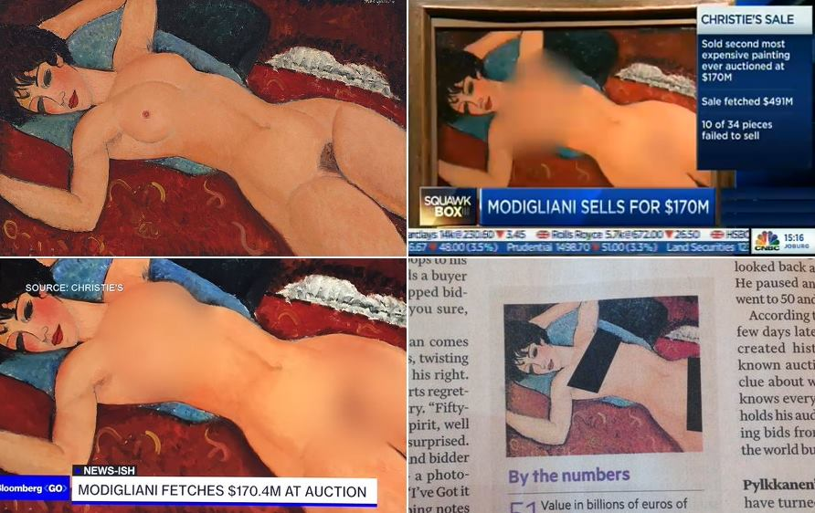 M Modigliani press censorship on selling of 'Nu Couché'