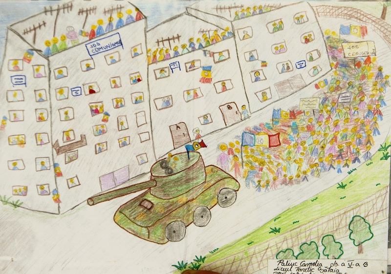 Drawing by an unknown child on the anti-communist uprising in Timisoara, fighting communist dictator Nicolae Ceausescu