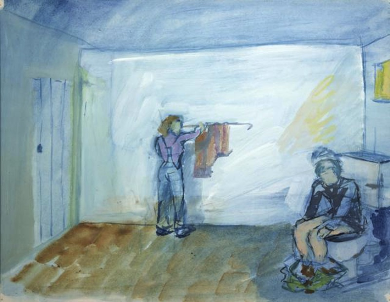 Painting by an anonymous young man in a psychiatric hospital. It shows his dream of being watched while on the toilet
