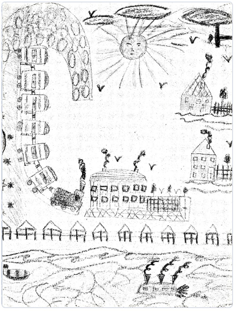 Drawing by Edita Pollakova, 9 years old: The deportation train arrives at Theresienstadt. Edita didn't survive the camp but her drawing became one of the 4.500 used for clues during the Nuremberg Trials