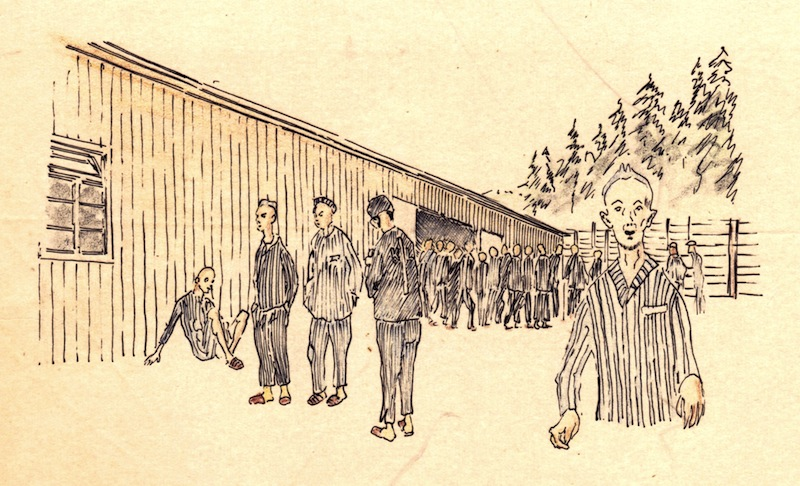 Drawing by Stefan Kryszak in Flossenbürg concentration camp