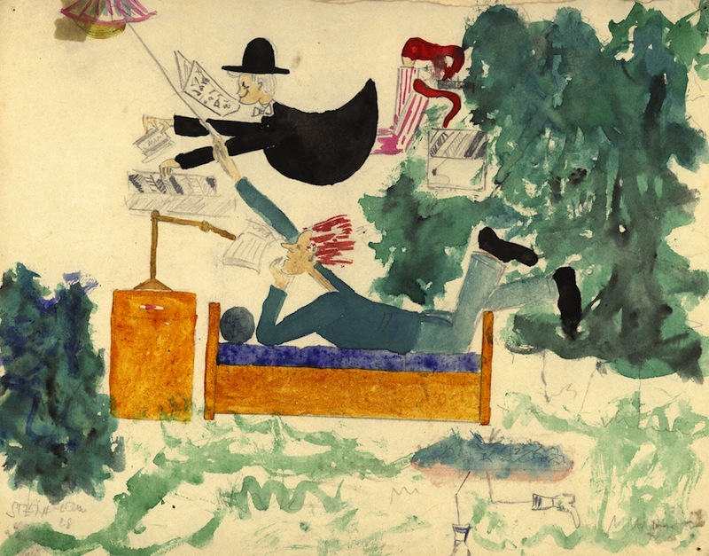 Painting made by Weissberger, who as a child performed in Brundibar in Theresienstadt concentration camp, Czechoslovakia. The childrens opera Brundibar was used by the Nazis as a show camp in propaganda films and as a decoy for International inspectors