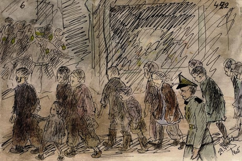 "Drawing by Helga Weissova, 13 years old, imprisoned in four nazi death camps, during which she kept an illustrated journal. She draw more than 100 paintings doing what her father told her: ""Paint whatever you see """