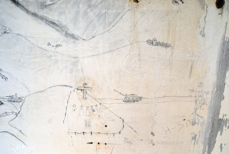 Drawing by an unknown soldier of the Dutchbat battalion on the walls of the their compound in Potocari, a village in the Srebrenica enclave during the war in Bosnia