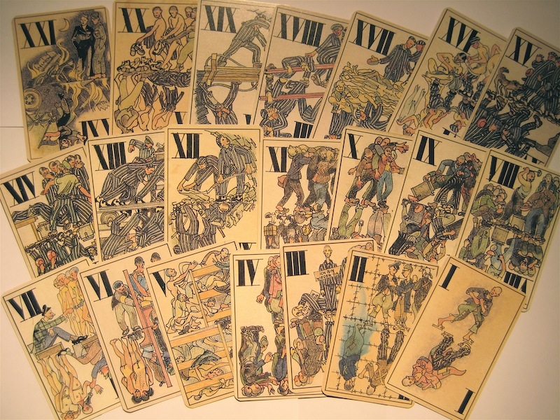 Tarot Cards by Boris Kobe, a political prisoner in the concentration camp of Allach, a sub-camp of Dachau Concentration Camp. The cards are images of some people who had positions of power as KAPOs in the camp, prisoners who supervised other prisoners