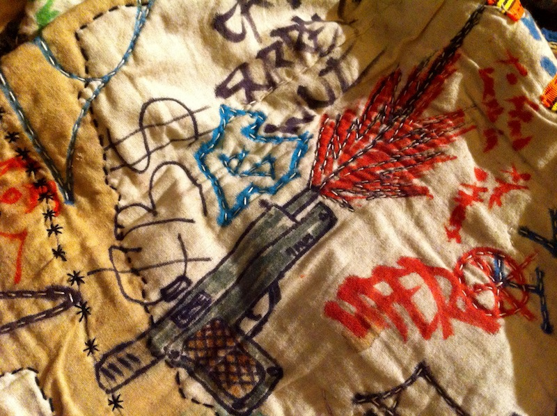 Quilt sketched, painted and hand sewn by youth in rival gangs at the Burnaby Youth Custody Centre, Canada