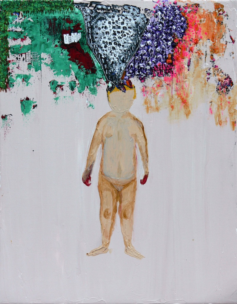 Paintings by Kim Noble, a brainwashing survivor with 13 alter personas who don't know each other but who all paint