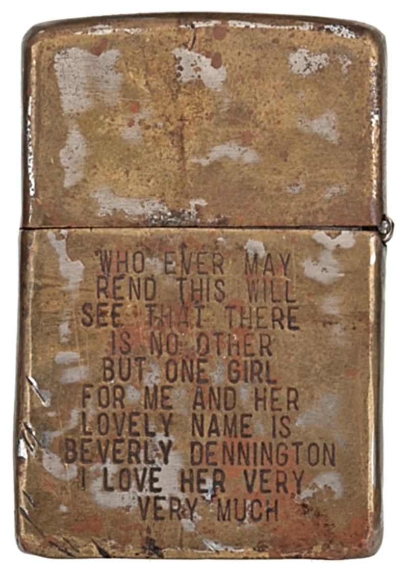 Zippo lighter, engraved by unknown American soldier during the Vietnam War