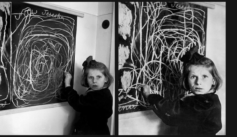 Drawing by Tereska in a residence for disturbed children, 1948. Tereska grew up in a concentration camp, on the blackboard her picture of 'home'