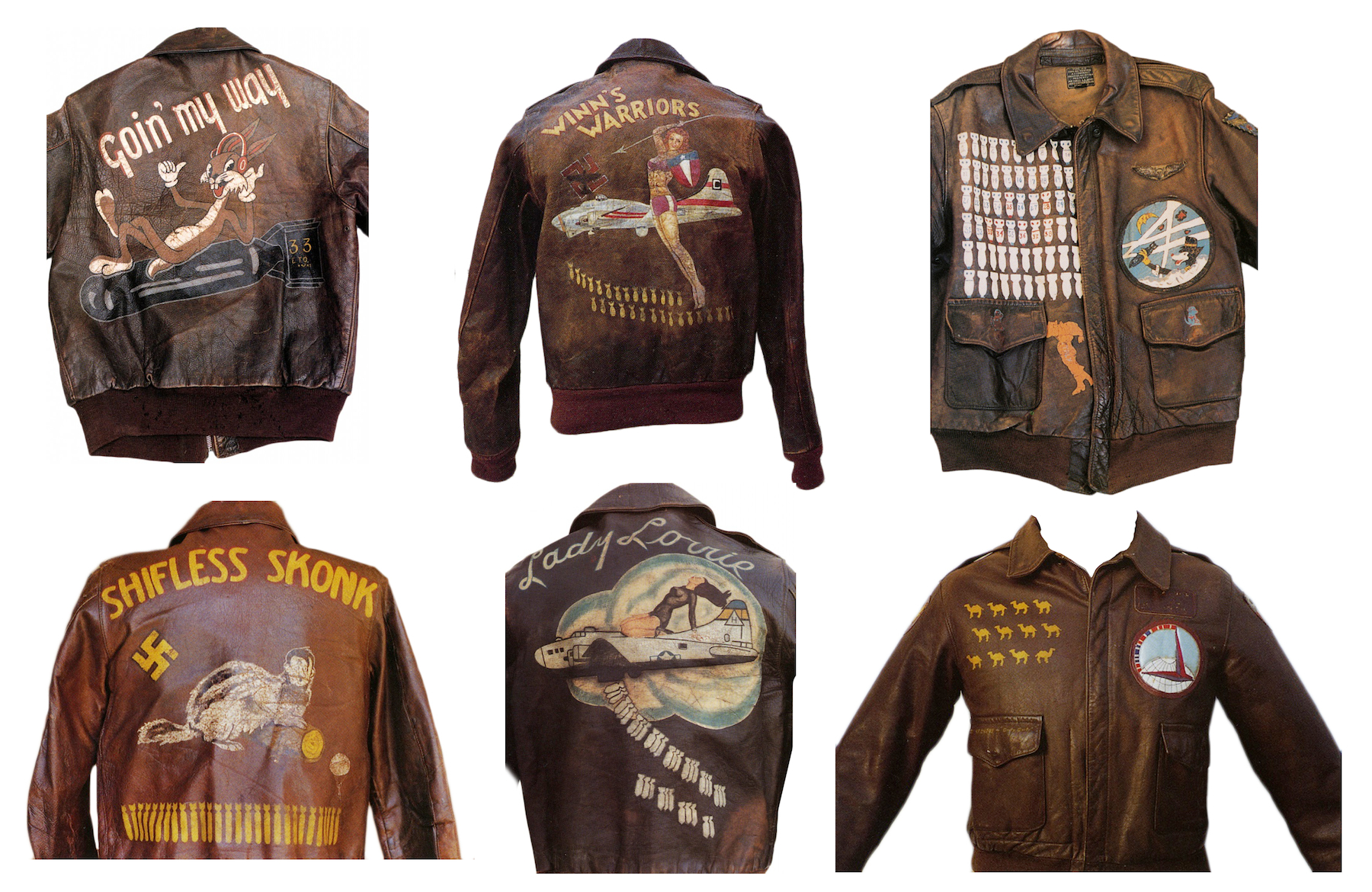 Painted WWII Bomber Jackets  A camel indicates a flight over the Himalayas, a camel facing reverse marks an aborted mission. A swastika marks a German aircraft destroyed. A parachute indicates the pilot had to jump. A bomb indicates the amount of missions