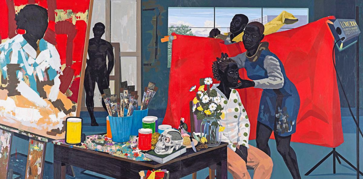 "A detail of the painting ""Untitled (Studio)"" (2014), by Kerry James Marshall, at the Met Breuer."