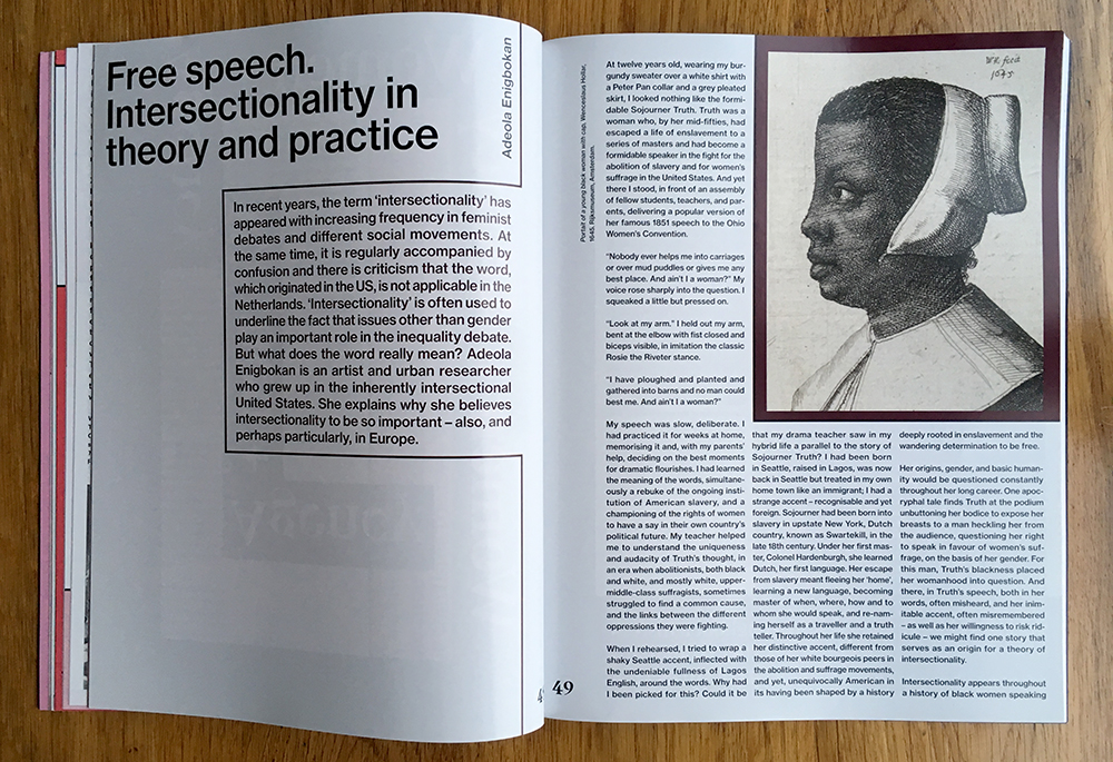Essay: Free speech. Intersectionality in theory and practice, geschreven door: Adeola Enigbokan. Vormgeving: Studio Roosje Klap