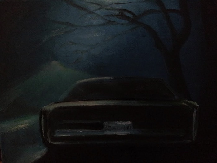 Lars Weller, The black car, 2014, olieverf op doek, 30x24 cm