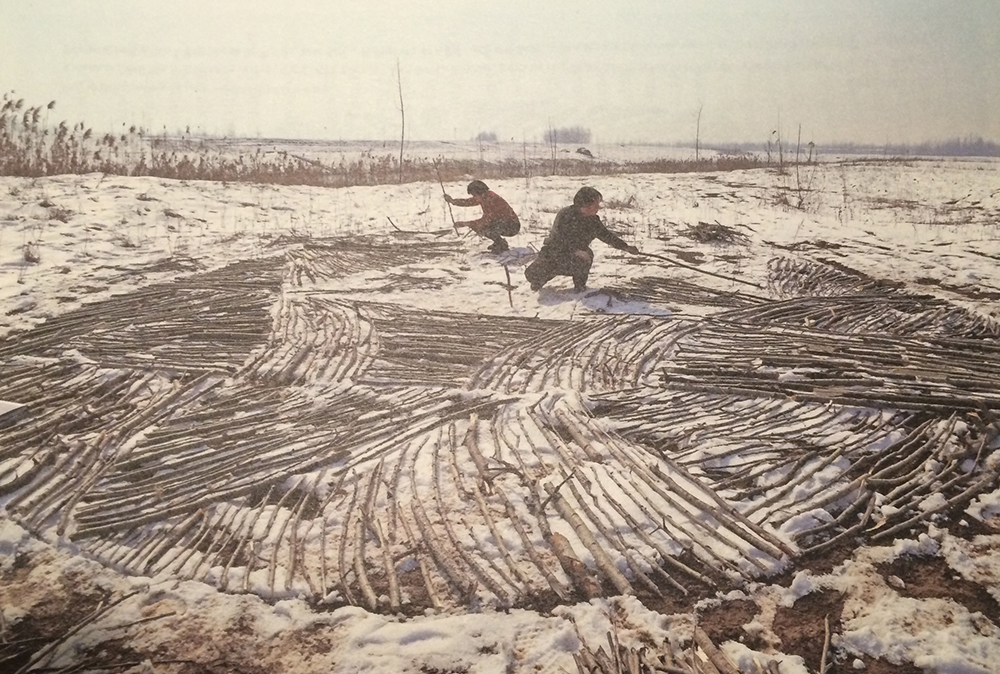 Li Mu's moeder en tante helpen hem Richard Long's 'Wood Circle' te reproduceren