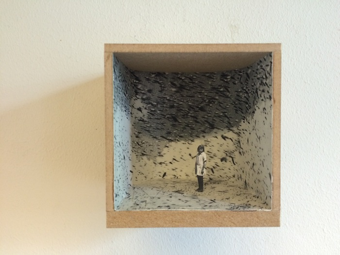 Tamar Clasquin, Cubes.  3D collage, mixed media 8x8x8 cm.