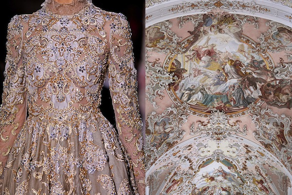 Details at Valentino Haute Couture Spring 2012 | The ceiling of the Mariä Geburt church in Rottenbuch, Oberbayern