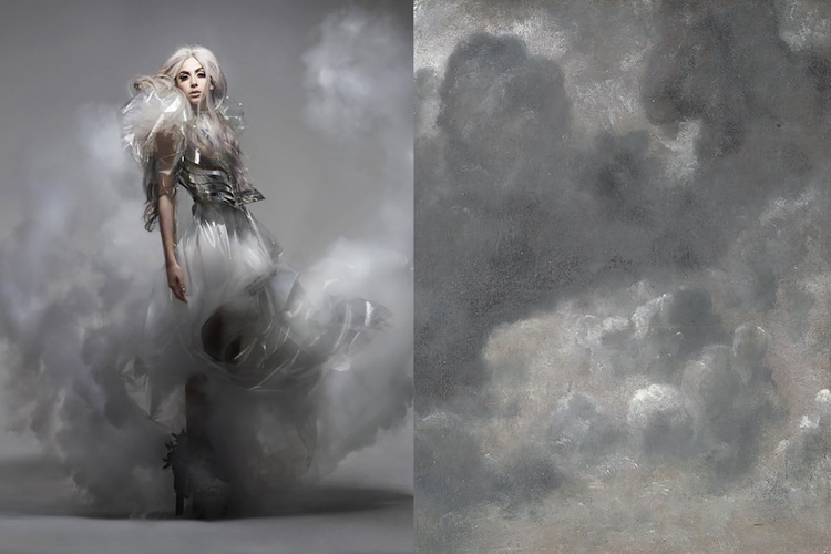 Lady Gaga photographed by Nick Knight and styled by Jessica Diehl for Vanity Fair September 2010 | Could study by John Constable, 1822