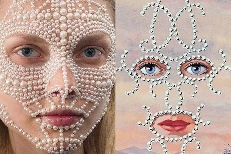 Makeup in the making backstage at Givenchy Spring 2016 | Shéhérazade (detail) by René Magritte, 1956