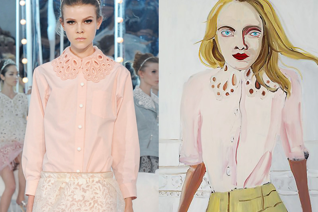 Details at Louis Vuitton Spring 2012 | Blonde wearing a lace collar by Chantal Joffe, oil on board, 2012