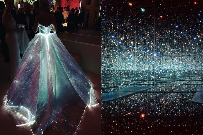 Claire Danes in Zac Posen at the 2016 MET Gala | Infinity Mirrored Room - The Souls of Millions of Light Years Away by Yayoi Kusama, 2013